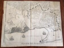 RARE 1745 Large Folded Map, Plan of the City of BARCELONA, Spain, Europe Spanish