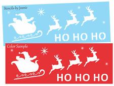 Joanie STENCIL Ho Ho Ho Santa Sleigh Ride Reindeer Sky Winter Christmas Art Sign