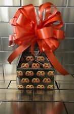 Halloween Candy Gift Box-Basket Wrapped With Orange Bow & Card