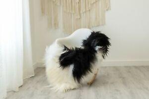 Real Sheepskin Rug Chair Cover Sheepskin Throw Sheep Skin White Black #ebicel9