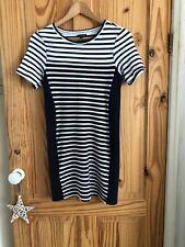 Topshop bodycon striped dress, navy blue & white, size 14.