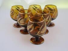 Set of 6 AMBER Cut Crystal Cognac Snifter Glasses 24k Gilded Leaf Pattern