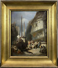 Exceptional 19th C. Dutch Ship Dry Dock w/ Figures Oil SIGNED Impressionist
