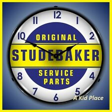 "ORIGINAL STUDEBAKER SERVICE PARTS 14"" LIGHTED WALL CLOCK GARAGE MAN CAVE USA NEW"