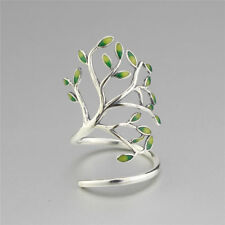 Vintage 925 Sterling Silver Green Enamel Leaves Branch Open Adjustable Wrap Ring