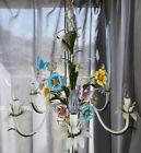 SALE Vintage Tole White Chandelier Butterflies & Flowers Multi Colored 6 Arm