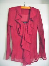 AU Womens Long Sleeve Red Pleated Blouse Semi Formal Size 12