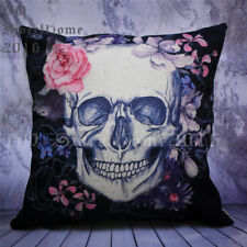 Gothic Flowers Skull Black Sofa Cushion Cover Square Throw Pillow Case 45x45cm