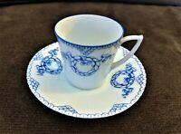 Vintage Wurttemberg Porcelain Demitasse Cup & Saucer Blue Wreath