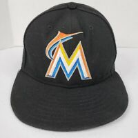 MLB Miami Marlins Fitted Hat Cap 7 1/4 New Era 59fifty ON FIELD Baseball Black
