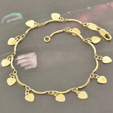 7.5'' Women 9K Yellow Gold Filled Love Heart Link Chain charms Jewelry Bracelet