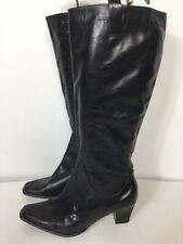 Zendra nero lucido in pelle cerniera tacchi al ginocchio Stivali EU 40 UK 7 Western
