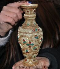 "7"" Tibet buddhism silver Filigree inlay Turquoise gem zun cup flower bottle vase"