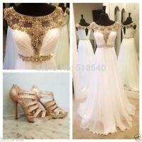 Elegant Gold Beads White Chiffon Long Prom Dress Formal Gowns Vestidos De Festa