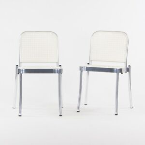 2021 Pair of Vico Magistretti Silver Outdoor Chairs for DePadova w/ White Seats