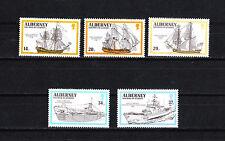 Aurigny Alderney  timbre  navires bateaux voiliers  1990  num:  43/47  **