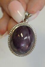 Vintage Platinum Oval Cabochon Cut Natural Star Sapphire Pendant