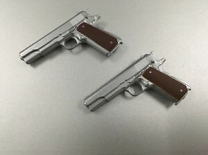 Custom Made 1/6 Scale Silver Police M1911 Pistol X 2 Fit Hot Toys Dam Body Head