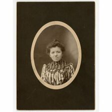 YOUNG LADY WITH STRIPED DRESS + LOCKET WATCH ANTIQUE PHOTO