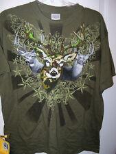 Deer Bow Buck Hunter Green Short Sleeve Shirt Mens Size XL NWT