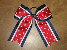 "NEW ""PATRIOTIC DOTS"" Cheer Hair Bow Pony Tail 3 Inch Ribbon Girls Cheerleading"