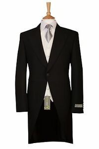 "MENS NEW BLACK HERRINGBONE WEDDING DRESS ASCOT TAILCOAT TAILS 42 44 46 "" SHORT"