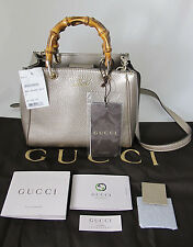 New Gucci Bamboo Shopper Leather Top Handle Crossbody Shoulder Bag Gold $1350