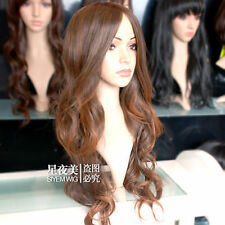 100% Real Hair! Fashion Beautiful Long Light Brown Wavy Wig Hair