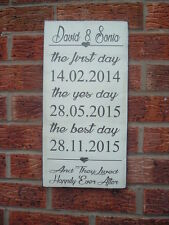 Wedding signs happily ever after date engagement 16x8 wall shabby vintage chic