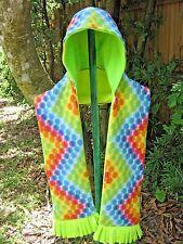 Hooded Pocket Scarf, Multi-color Dots Print, Handmade, Dot & Green Hood,Fleece,