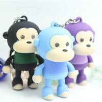 Cute Monkey Keychain Keyring with LED Light and Animal Sound Kawaii Gift