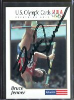 Bruce Jenner 1991 Impel US Olympic Cards Signed Autograph USA Stamp Authenticity
