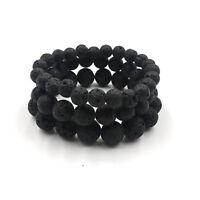 Men Women 8MM 10MM 12MM Natural Lava Stone Round Bead Handmade Elastic Bracelets