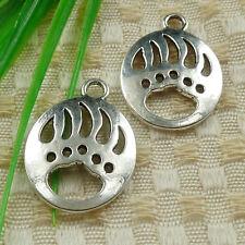 30pcs tibetan silver oval bear claw charms 30x22mm #4603