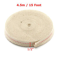 """1/2"""" Flat Cotton Oil Lamp Wick 15 foot Roll For Oil Lamps and Lanterns Burner US"""