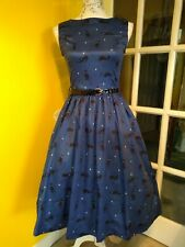 Lindy Bop Audrey Midnight Cats Swing Dress Size 8