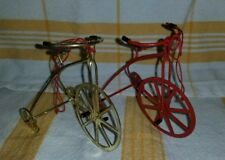 Lot of 2 Metal Bikes Tricycles Christmas Ornaments Doll Fairy Garden Red Gold