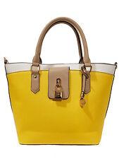 L.Credi Handtasche Henkeltasche Schultertasche Cora IN-Bag Gelb + Weiss + Taupe