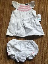 Nautica Infant Girl 6/9M White And Pink Outfit Set NWT