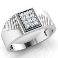 14K Oro Bianco Uomo Matrimonio Anello 0.26 CT Naturale Rotondo Diamante Fascia