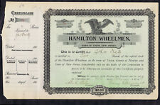 Hamilton Wheelmen Early Nj Bicycle Club 1903 Union New Jersey Share Certificate