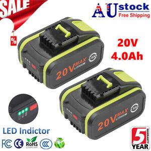 2X For Worx 20V Max Li-Ion Battery 4.0Ah WA3551 WA3551.1 WA3553 WA3553.1 WA3556