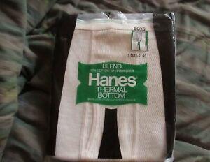 VTG 1977 NOS Hanes Thermal Underwear Bottom Boys Cotton Poly LARGE 14/16