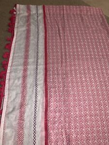 Xhilaration Sheer Pink And White Curtains with tassels 52 X 82 Each Panel (2)