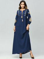 Muslim Women Embroidery Dresses Abaya Vintage Maxi Cocktail Dress Jilbab Robe