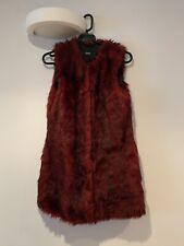 ASOS Faux Fur Gilet in Oxblood Size UK 8