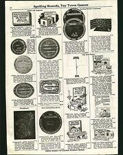 1923 ADVERT Toy Town Games Airship Meet Garage Post Office Railroad