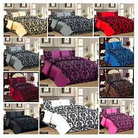 4 Piece Flock Complete Bed Set Inc Duvet Quilt Cover, Pillow Cases,Valance Sheet