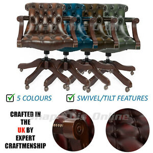 Chesterfield Chair Gainsborough Captain Leather Wing back Dining Office Green