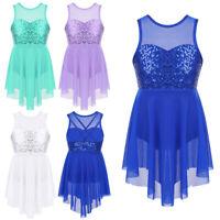 Kids Girls Lyrical  Dance Costumes Sequins Ballet Dance Dress Modern Dancewear